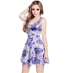 Electric White And Blue Roses Reversible Sleeveless Dress