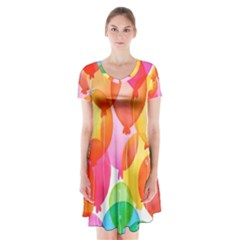 Rainbow Balloon Short Sleeve V Neck Flare Dress by Brittlevirginclothing