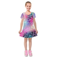 Colorful Leaves Kids  Short Sleeve Velvet Dress by Brittlevirginclothing
