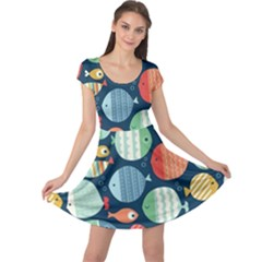 Cute Small Marine Fish Cap Sleeve Dresses by Brittlevirginclothing