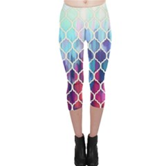 Purple Moroccan Mosaic Capri Leggings  by Brittlevirginclothing