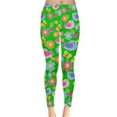 Spring Pattern   Green Leggings  by Valentinaart
