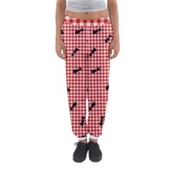 Ant Red Gingham Woven Plaid Tablecloth Women s Jogger Sweatpants by Jojostore