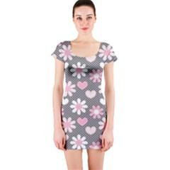 Flower Floral Rose Sunflower Pink Grey Love Heart Valentine Short Sleeve Bodycon Dress