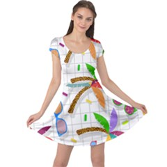 Glasses Coconut Tree Color Rainbow Purple Yellow Orange Green Red Pink Brown Line Cap Sleeve Dresses by Jojostore