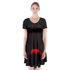 Mistery Door Light Black Red Short Sleeve V Neck Flare Dress
