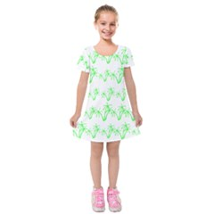Palm Tree Coconute Green Sea Kids  Short Sleeve Velvet Dress by Jojostore