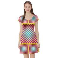 Rotational Plaid Purple Blue Yellow Short Sleeve Skater Dress