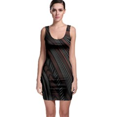 Trailer Drax Line Brown White Chevron Galaxy Space Sleeveless Bodycon Dress by Jojostore