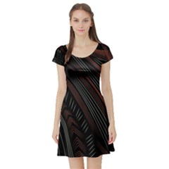Trailer Drax Line Brown White Chevron Galaxy Space Short Sleeve Skater Dress by Jojostore