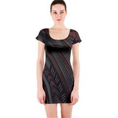 Trailer Drax Line Brown White Chevron Galaxy Space Short Sleeve Bodycon Dress by Jojostore