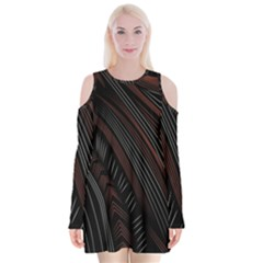 Trailer Drax Line Brown White Chevron Galaxy Space Velvet Long Sleeve Shoulder Cutout Dress by Jojostore