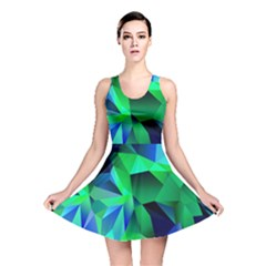 Galaxy Chevron Wave Woven Fabric Color Blu Green Triangle Reversible Skater Dress