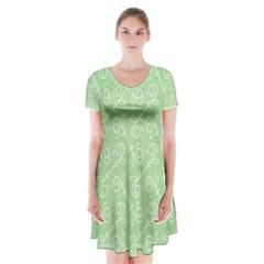 Formula Leaf Floral Green Short Sleeve V Neck Flare Dress by Jojostore