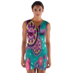 Vintage Butterfly Floral Flower Rose Star Purple Pink Green Yellow Animals Fly Wrap Front Bodycon Dress by Jojostore