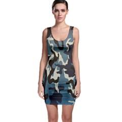 Blue Water Camouflage Sleeveless Bodycon Dress