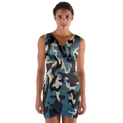 Blue Water Camouflage Wrap Front Bodycon Dress by Nexatart