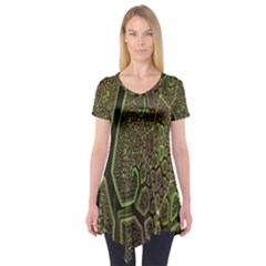 Fractal Complexity 3d Dimensional Short Sleeve Tunic  by Nexatart