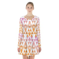 Geometric Abstract Orange Purple Pattern Long Sleeve Velvet V Neck Dress by Nexatart