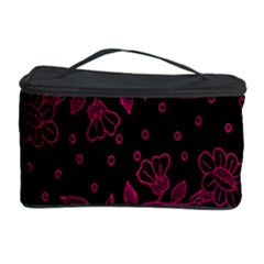 Pink Floral Pattern Background Wallpaper Cosmetic Storage Case by Nexatart