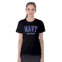 Navy Boyfriend   Women s Cotton Tee by FunnySaying