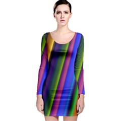 Strip Colorful Pipes Books Color Long Sleeve Bodycon Dress by Nexatart