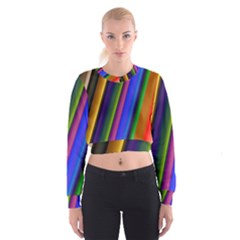 Strip Colorful Pipes Books Color Women s Cropped Sweatshirt by Nexatart