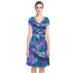 Abstract Ship Water Scape Ocean Short Sleeve Front Wrap Dress by Nexatart