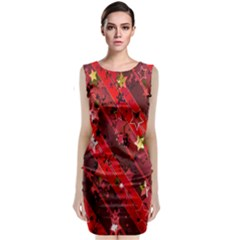 Advent Star Christmas Poinsettia Classic Sleeveless Midi Dress by Nexatart