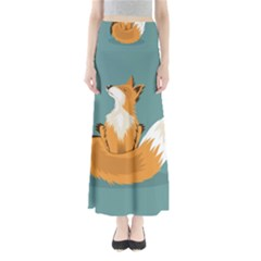 Animal Wolf Orange Fox Maxi Skirts by Alisyart
