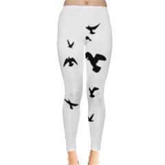 Bird Fly Black Leggings  by Alisyart