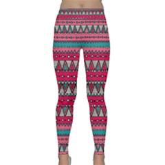 Aztec Geometric Red Chevron Wove Fabric Classic Yoga Leggings by Alisyart