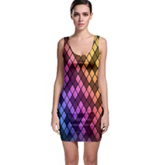 Colorful Abstract Plaid Rainbow Gold Purple Blue Sleeveless Bodycon Dress by Alisyart