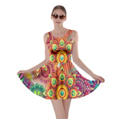 Colorful Abstract Flower Floral Sunflower Rose Star Rainbow Skater Dress by Alisyart