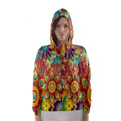 Colorful Abstract Flower Floral Sunflower Rose Star Rainbow Hooded Wind Breaker (women)