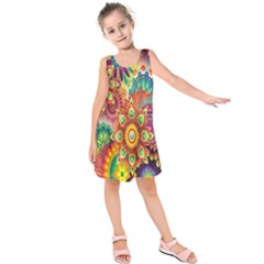 Colorful Abstract Flower Floral Sunflower Rose Star Rainbow Kids  Sleeveless Dress by Alisyart