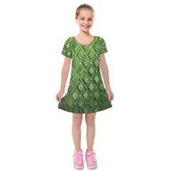 Circle Square Green Stone Kids  Short Sleeve Velvet Dress