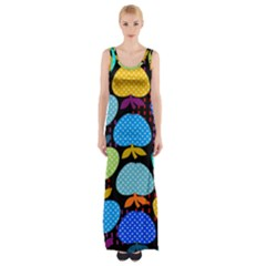 Fruit Apples Color Rainbow Green Blue Yellow Orange Maxi Thigh Split Dress
