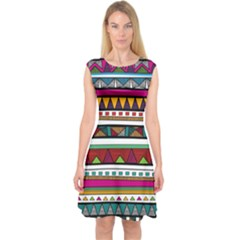 Woven Fabric Triangle Color Rainbow Chevron Wave Jpeg Capsleeve Midi Dress