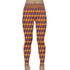 Geometric Plaid Red Orange Classic Yoga Leggings by Alisyart