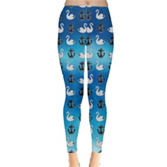 Goose Swan Anchor Blue Leggings  by Alisyart