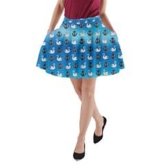 Goose Swan Anchor Blue A Line Pocket Skirt by Alisyart