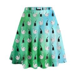 Goose Swan Hook Blue Green High Waist Skirt by Alisyart
