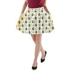 Goose Swan Anchor Gold A Line Pocket Skirt by Alisyart