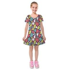 Leaf Camo Color Flower Kids  Short Sleeve Velvet Dress by Alisyart