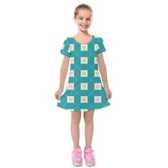 Regular Triangulation Plaid Blue Kids  Short Sleeve Velvet Dress by Alisyart