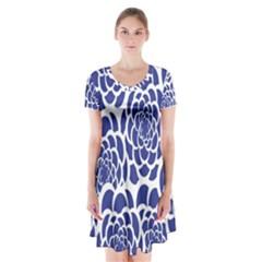 Blue And White Flower Background Short Sleeve V Neck Flare Dress by Nexatart