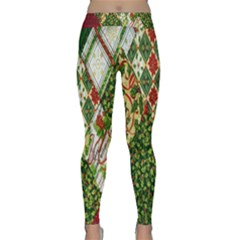 Christmas Quilt Background Classic Yoga Leggings by Nexatart