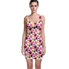 Christmas Star Pattern Sleeveless Bodycon Dress by Nexatart