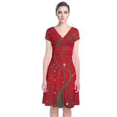 Christmas Modern Day Snow Star Red Short Sleeve Front Wrap Dress by Nexatart